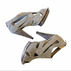 Attitude Samantha Caged Heels ,Gray Faux Suede, 7
